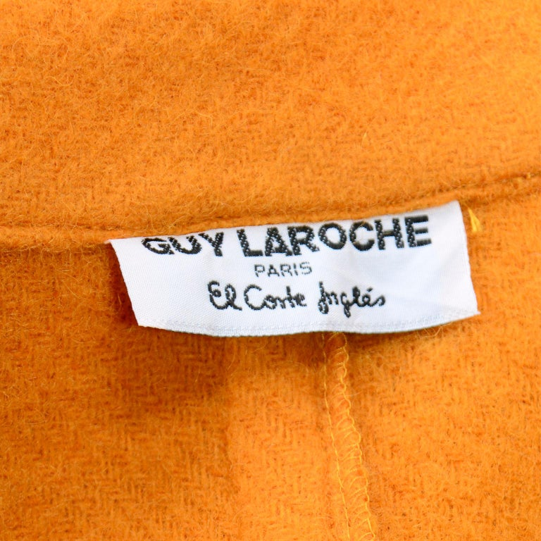 Vintage Guy Laroche Tangerine Orange Mohair & Wool Swing Coat With Front Pockets For Sale 7