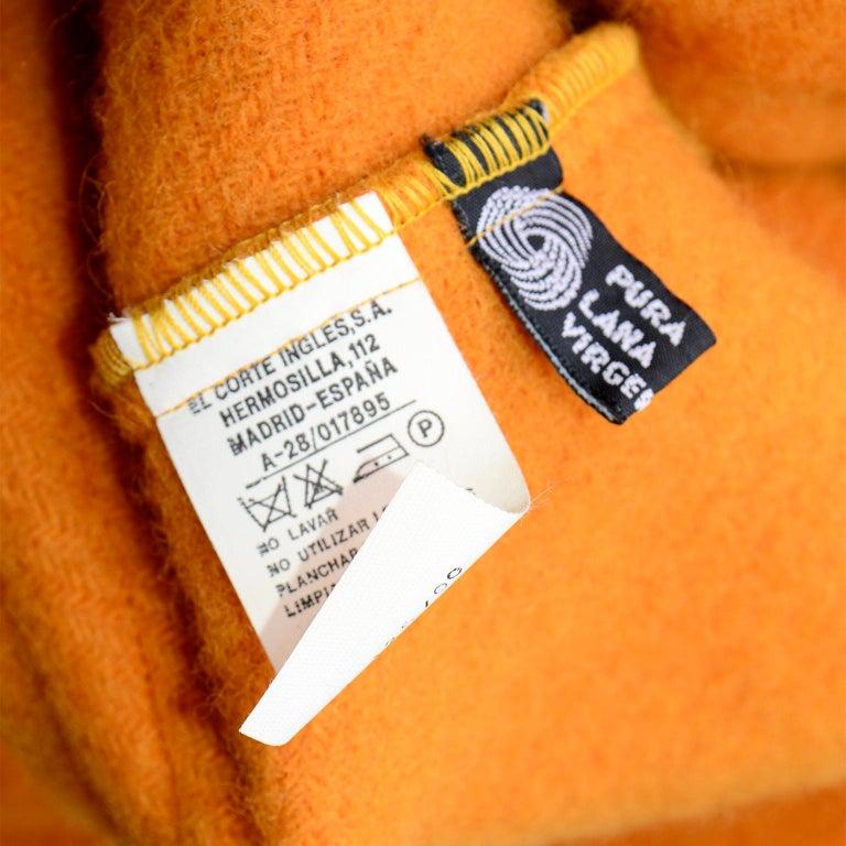 Vintage Guy Laroche Tangerine Orange Mohair & Wool Swing Coat With Front Pockets For Sale 8