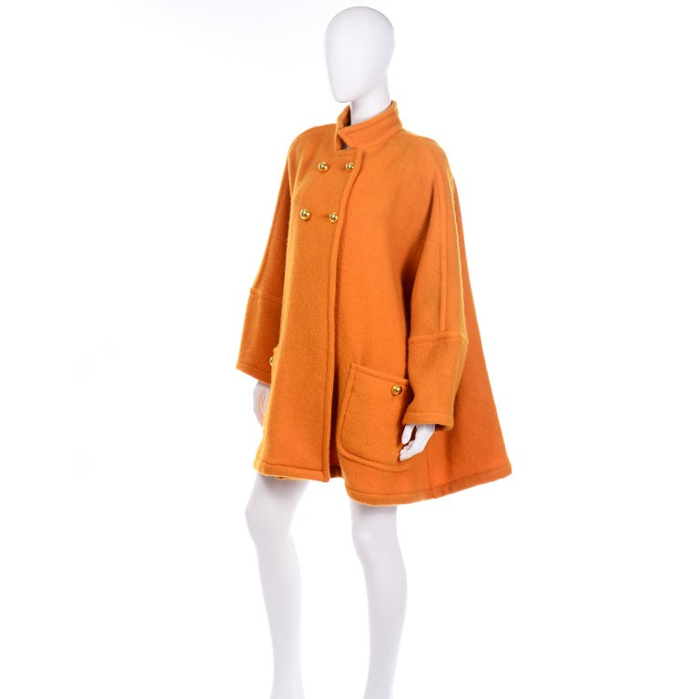 Vintage Guy Laroche Tangerine Orange Mohair & Wool Swing Coat With Front Pockets In Excellent Condition For Sale In Portland, OR