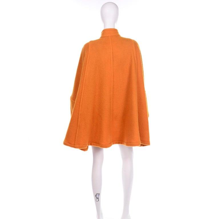 Women's Vintage Guy Laroche Tangerine Orange Mohair & Wool Swing Coat With Front Pockets For Sale