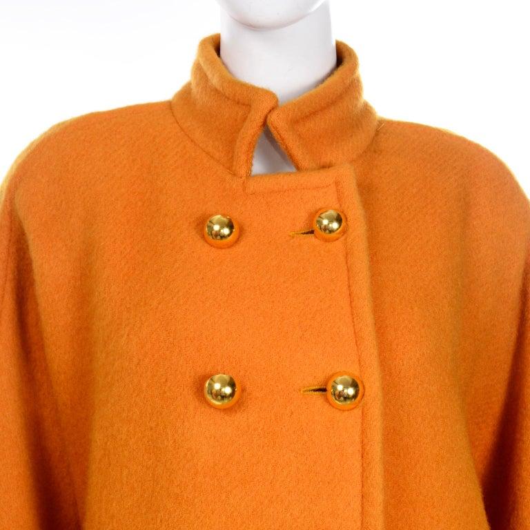 Vintage Guy Laroche Tangerine Orange Mohair & Wool Swing Coat With Front Pockets For Sale 1