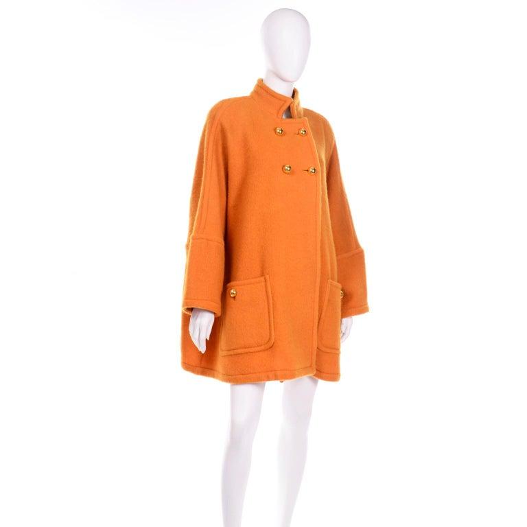 Vintage Guy Laroche Tangerine Orange Mohair & Wool Swing Coat With Front Pockets For Sale 3