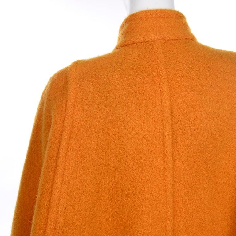 Vintage Guy Laroche Tangerine Orange Mohair & Wool Swing Coat With Front Pockets For Sale 4