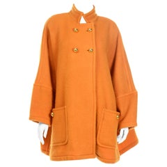 Vintage Guy Laroche Tangerine Orange Mohair & Wool Swing Coat With Front Pockets