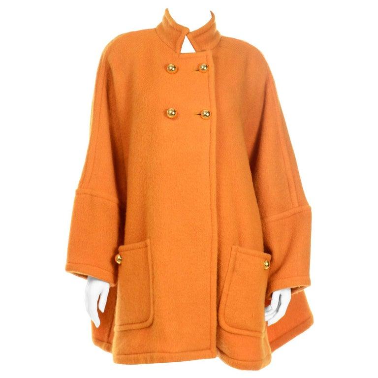 Vintage Guy Laroche Tangerine Orange Mohair & Wool Swing Coat With Front Pockets For Sale