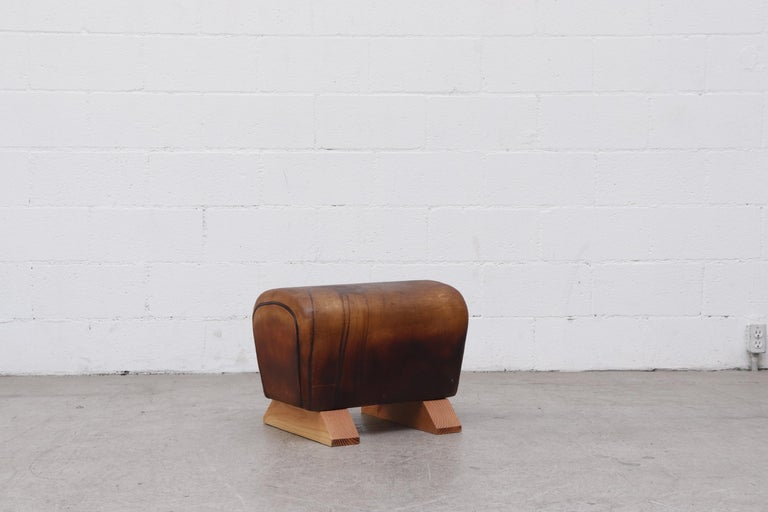 Vintage Gymnasium Horse Vault Turned Ottoman In Good Condition For Sale In Los Angeles, CA