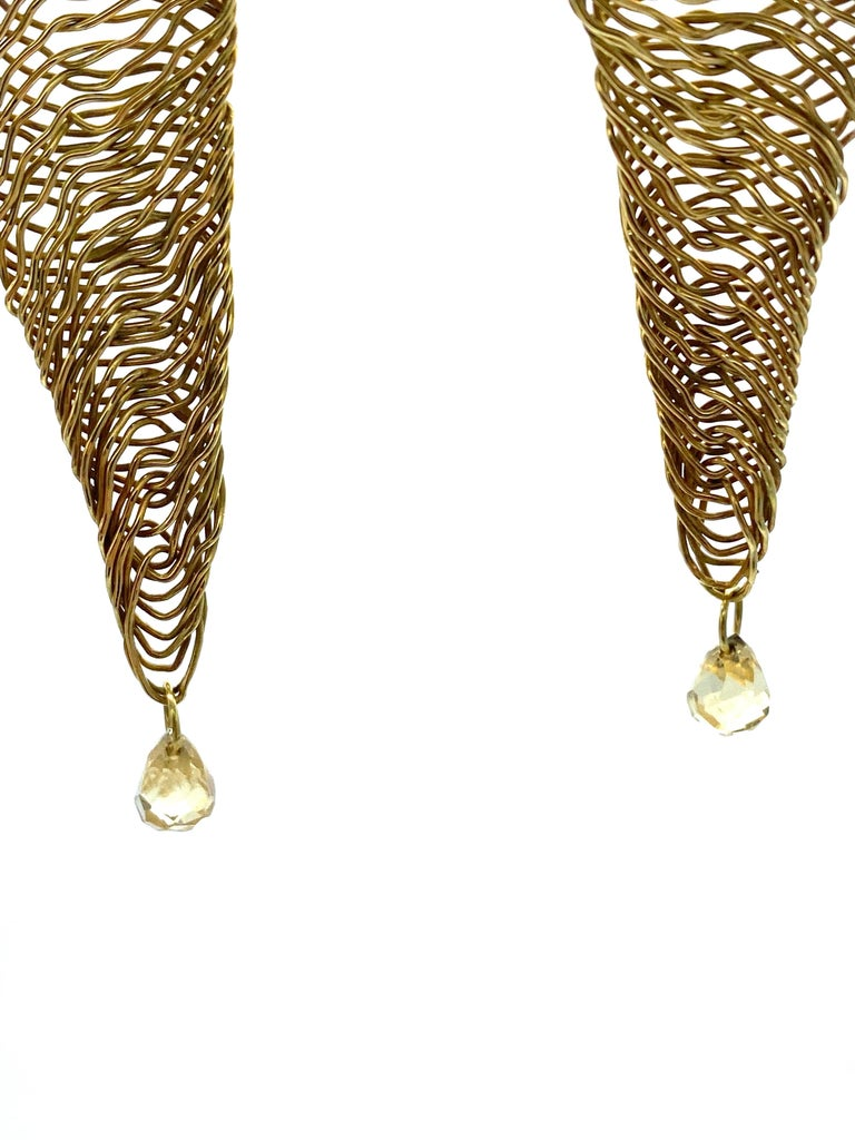 Pear Cut Vintage H. Stern Yellow Gold and Quartz Dangle Earrings For Sale