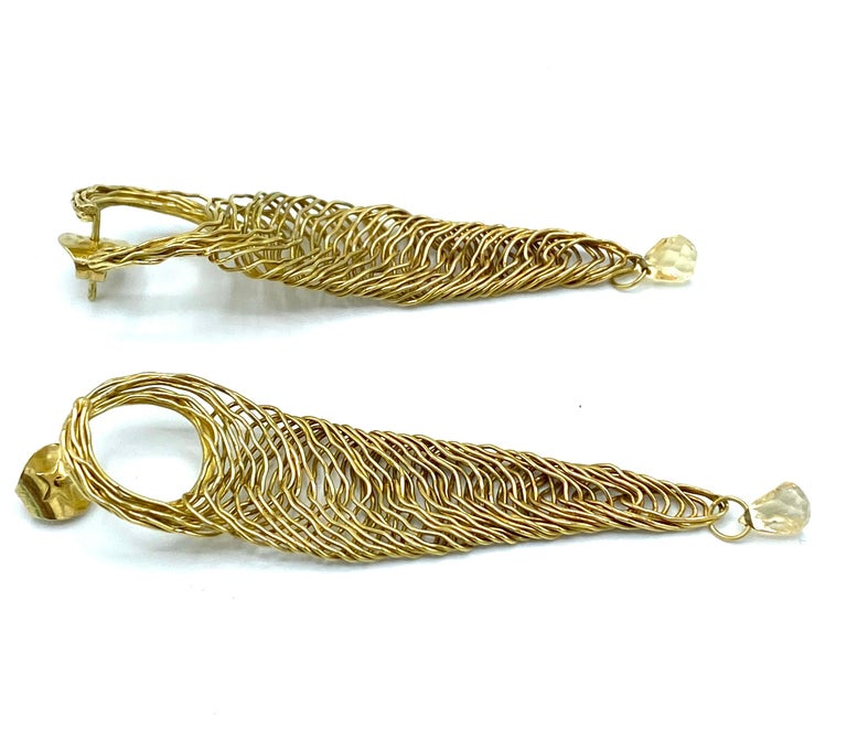 Women's Vintage H. Stern Yellow Gold and Quartz Dangle Earrings For Sale
