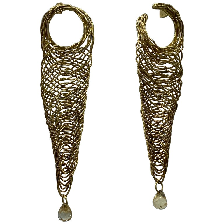 Vintage H. Stern Yellow Gold and Quartz Dangle Earrings For Sale