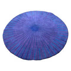 Vintage Habitat Verner Panton Pure New Wool Circular Tufted Purple Rug