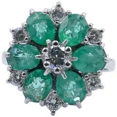 Vintage 'Hallmarked 1974' 18ct White Gold Emerald & Diamond Flower Cocktail Ring