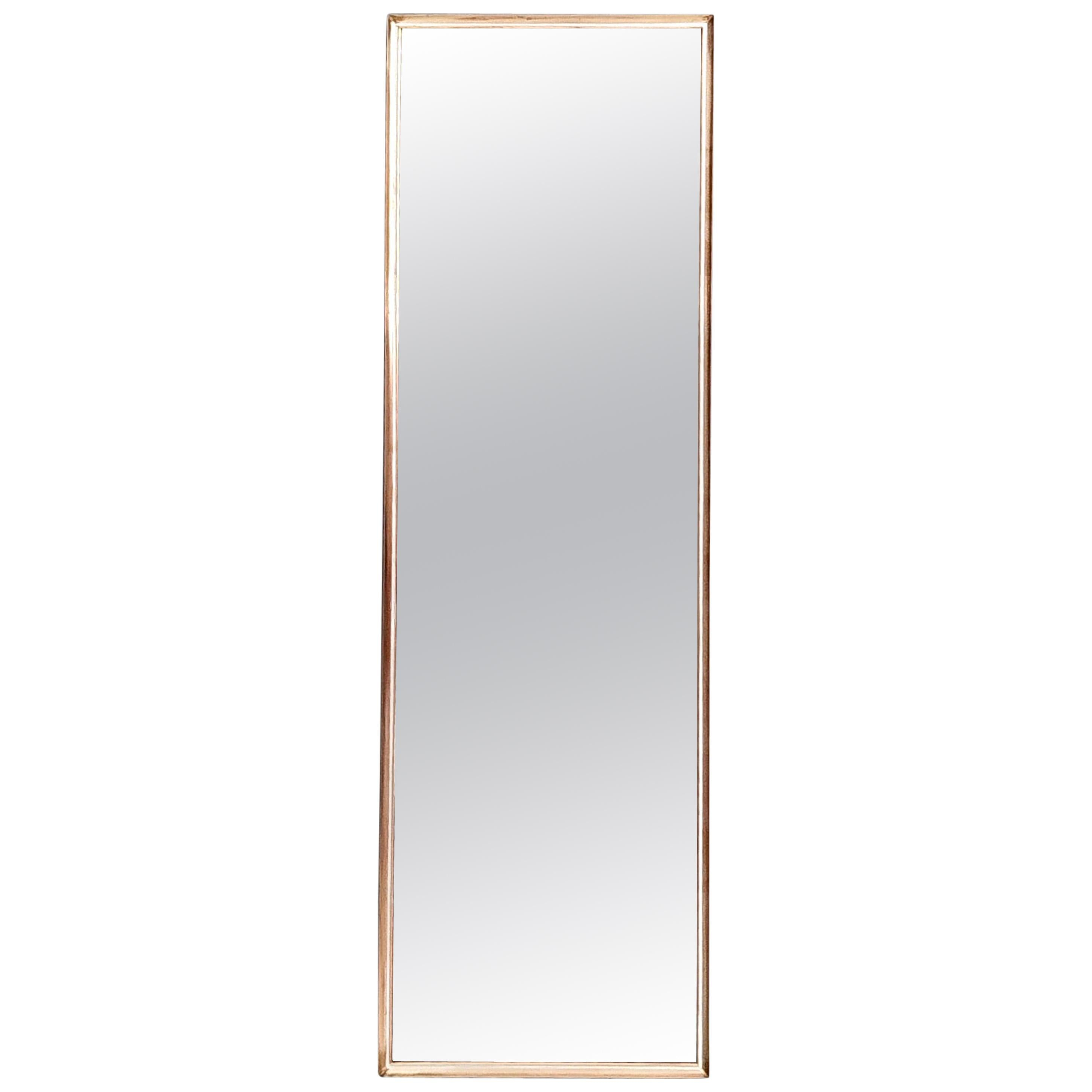 Vintage Hallway Rectangular Wall Mirror with Brass Frame, Italy