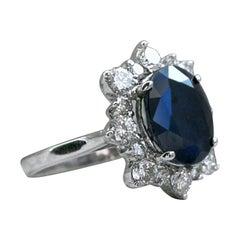 Vintage Halo 14 Karat Gold Diamond and Sapphire Ring Engagement Ring, 7.28 Carat