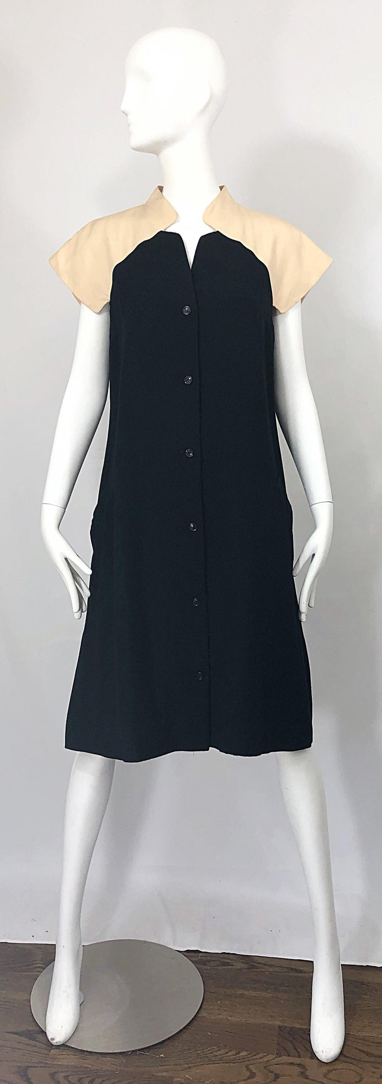 Vintage Halston 1970s Optical Illusion Black + Khaki 70s Trapeze Dress For Sale 8