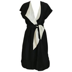 Vintage HALSTON Black and Creme Silk Wrap Dress with Sash