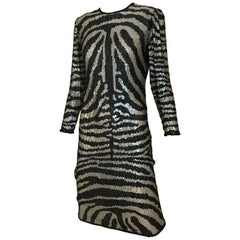 1970s HALSTON Black and Silver Sequins Animal Print Sheath Dress