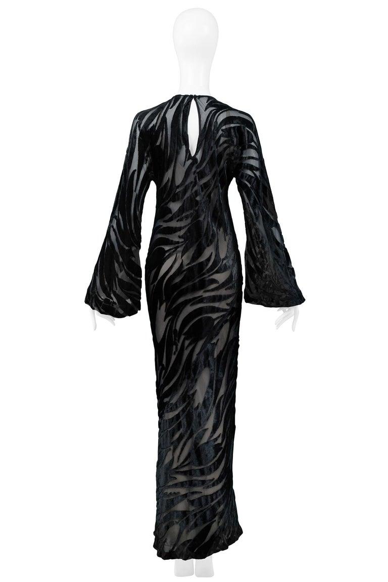 Women's Vintage Halston Black Chiffon & Velvet Burnout Gown 1977 For Sale