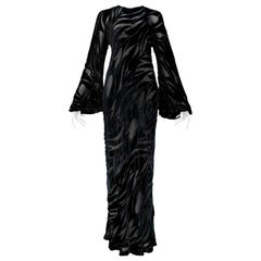 Vintage Halston Black Chiffon & Velvet Burnout Gown 1977