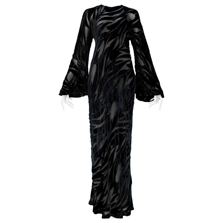 Vintage Halston Black Chiffon & Velvet Burnout Gown 1977 For Sale