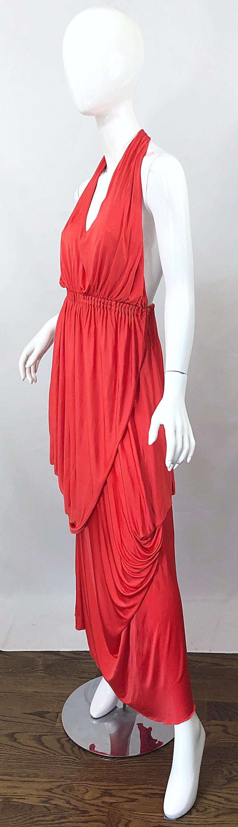 Vintage Halston Coral Silk Jersey Plunging Asymmetrical Hem Backless Gown Dress For Sale 6