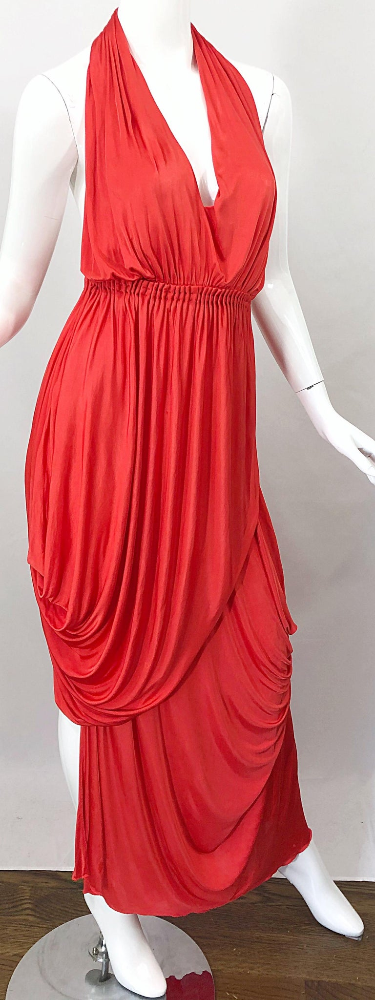 Vintage Halston Coral Silk Jersey Plunging Asymmetrical Hem Backless Gown Dress For Sale 7