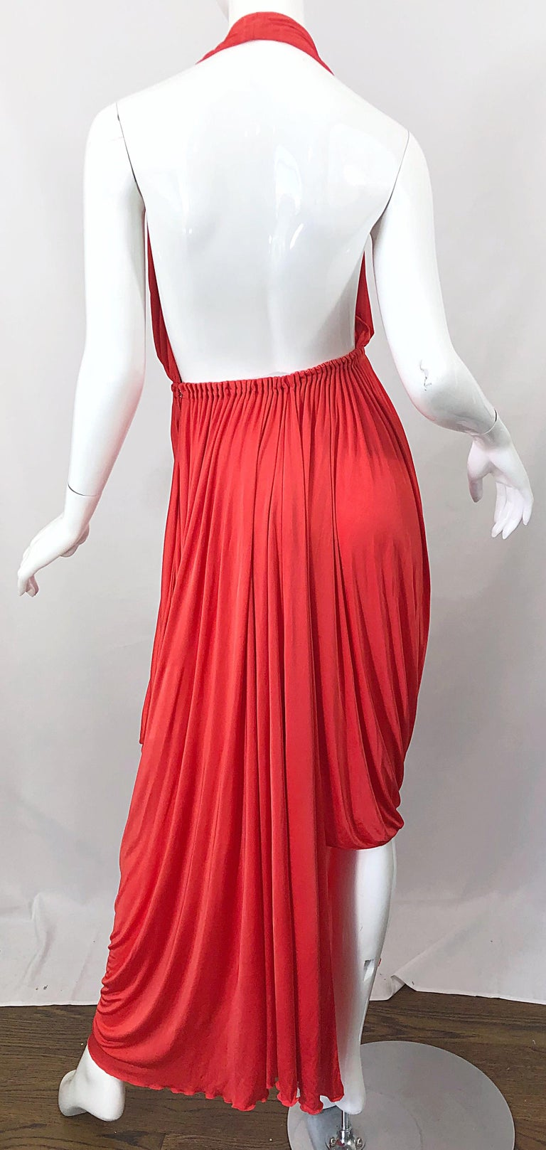Vintage Halston Coral Silk Jersey Plunging Asymmetrical Hem Backless Gown Dress For Sale 8