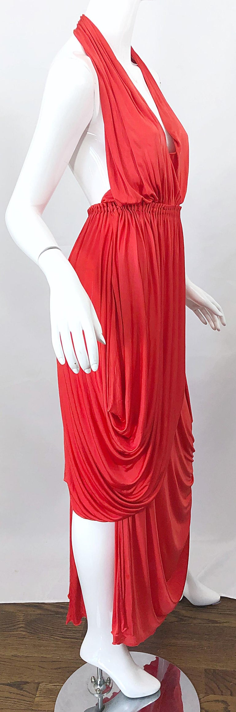 Vintage Halston Coral Silk Jersey Plunging Asymmetrical Hem Backless Gown Dress For Sale 9