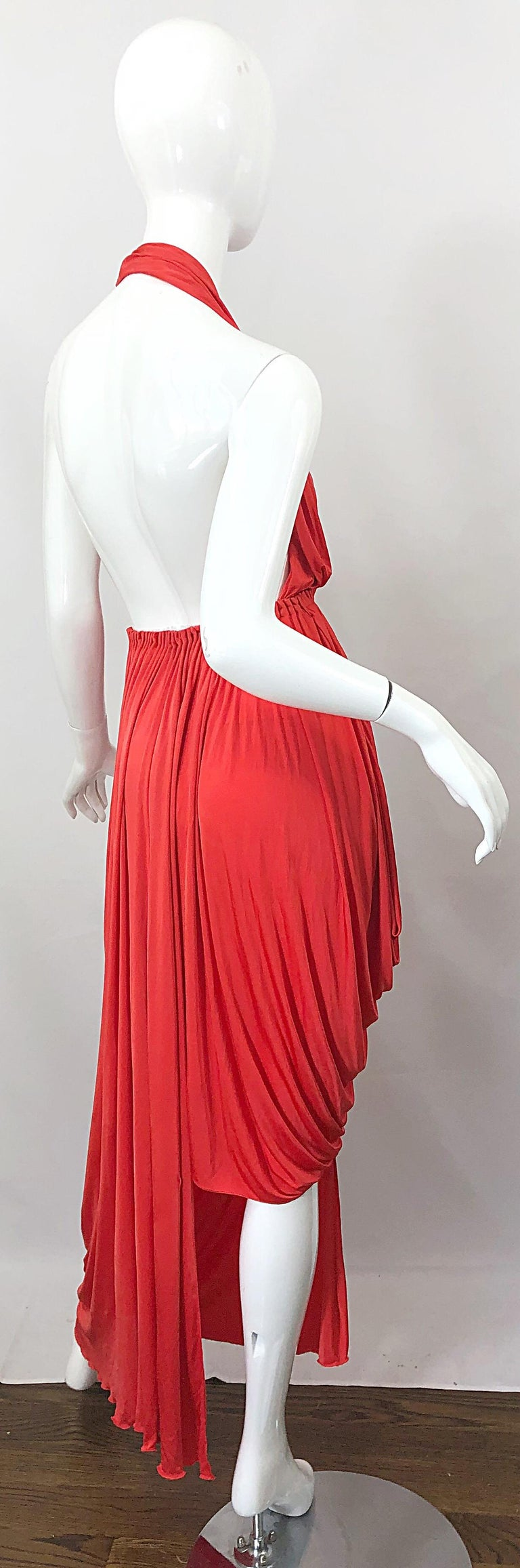 Vintage Halston Coral Silk Jersey Plunging Asymmetrical Hem Backless Gown Dress For Sale 10