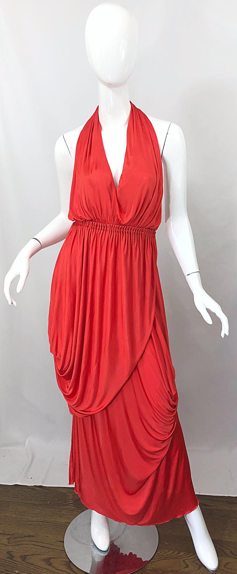 Vintage Halston Coral Silk Jersey Plunging Asymmetrical Hem Backless Gown Dress For Sale 11