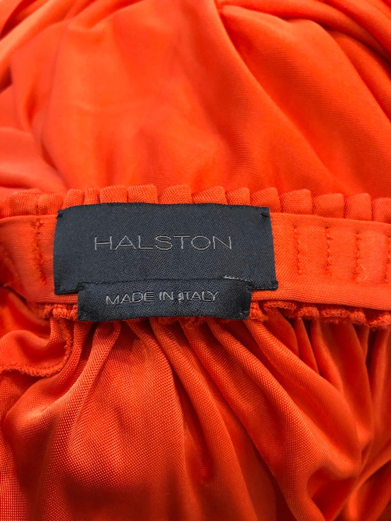 Vintage Halston Coral Silk Jersey Plunging Asymmetrical Hem Backless Gown Dress For Sale 12