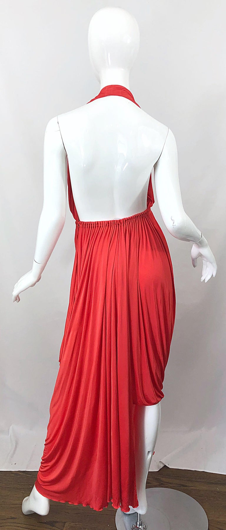 Red Vintage Halston Coral Silk Jersey Plunging Asymmetrical Hem Backless Gown Dress For Sale