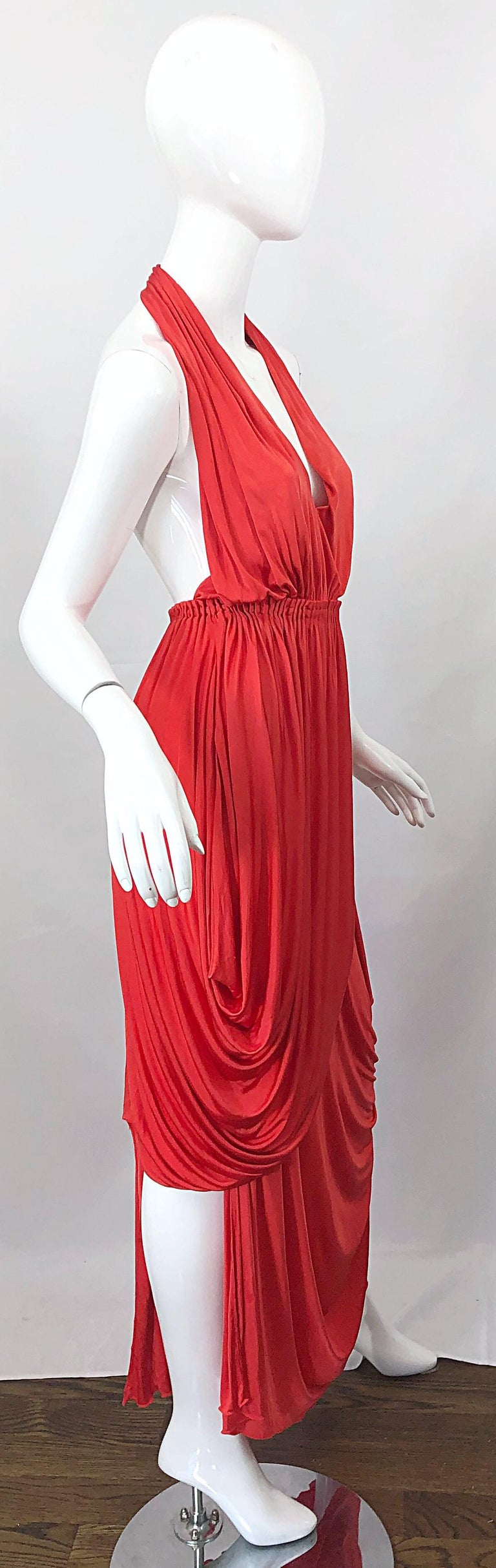 Vintage Halston Coral Silk Jersey Plunging Asymmetrical Hem Backless Gown Dress In Excellent Condition For Sale In Chicago, IL