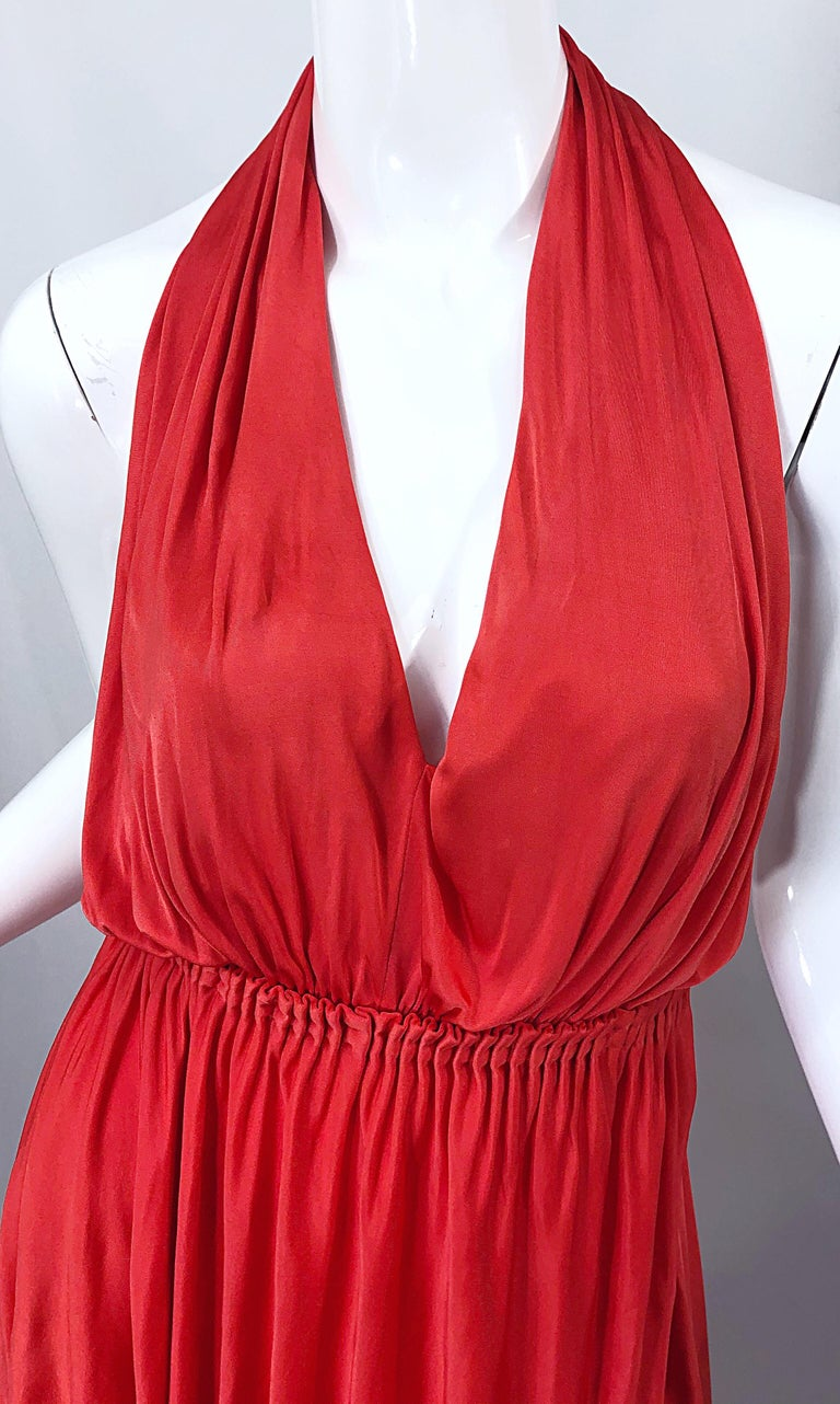 Women's Vintage Halston Coral Silk Jersey Plunging Asymmetrical Hem Backless Gown Dress For Sale
