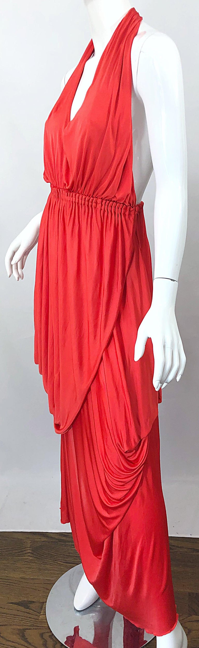 Vintage Halston Coral Silk Jersey Plunging Asymmetrical Hem Backless Gown Dress For Sale 1