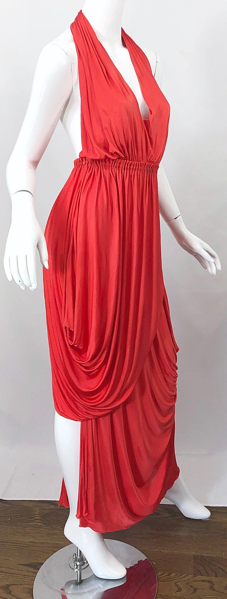 Vintage Halston Coral Silk Jersey Plunging Asymmetrical Hem Backless Gown Dress For Sale 2