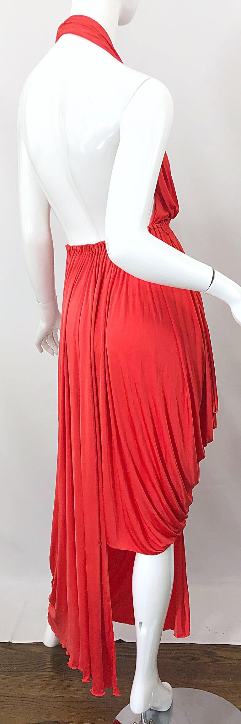 Vintage Halston Coral Silk Jersey Plunging Asymmetrical Hem Backless Gown Dress For Sale 3