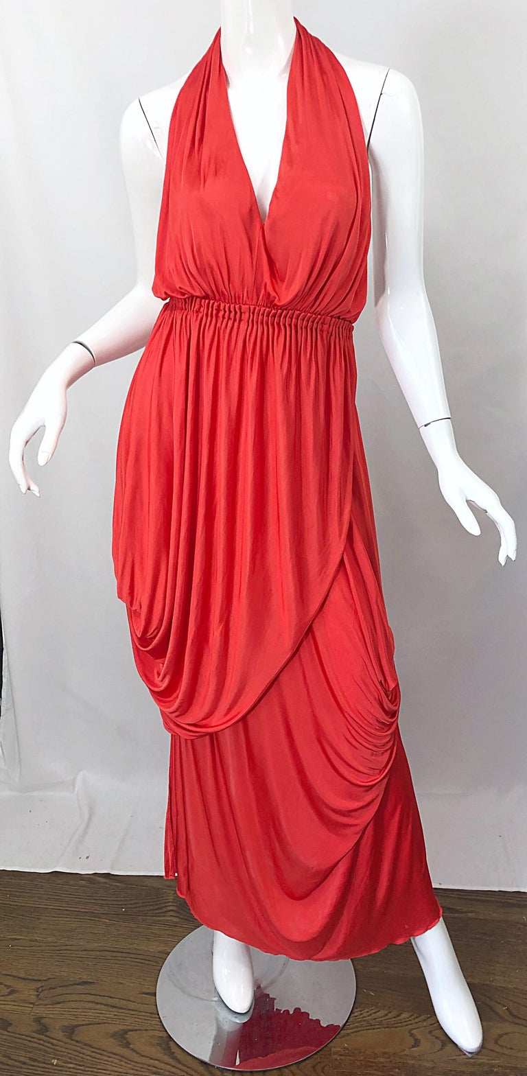 Vintage Halston Coral Silk Jersey Plunging Asymmetrical Hem Backless Gown Dress For Sale 4