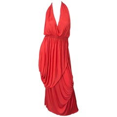 Vintage Halston Coral Silk Jersey Plunging Asymmetrical Hem Backless Gown Dress
