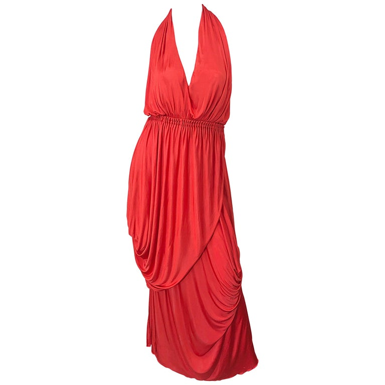Vintage Halston Coral Silk Jersey Plunging Asymmetrical Hem Backless Gown Dress For Sale