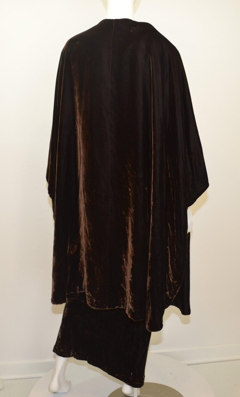 Vintage Halston Crushed Velvet Gown With Cape For Sale At