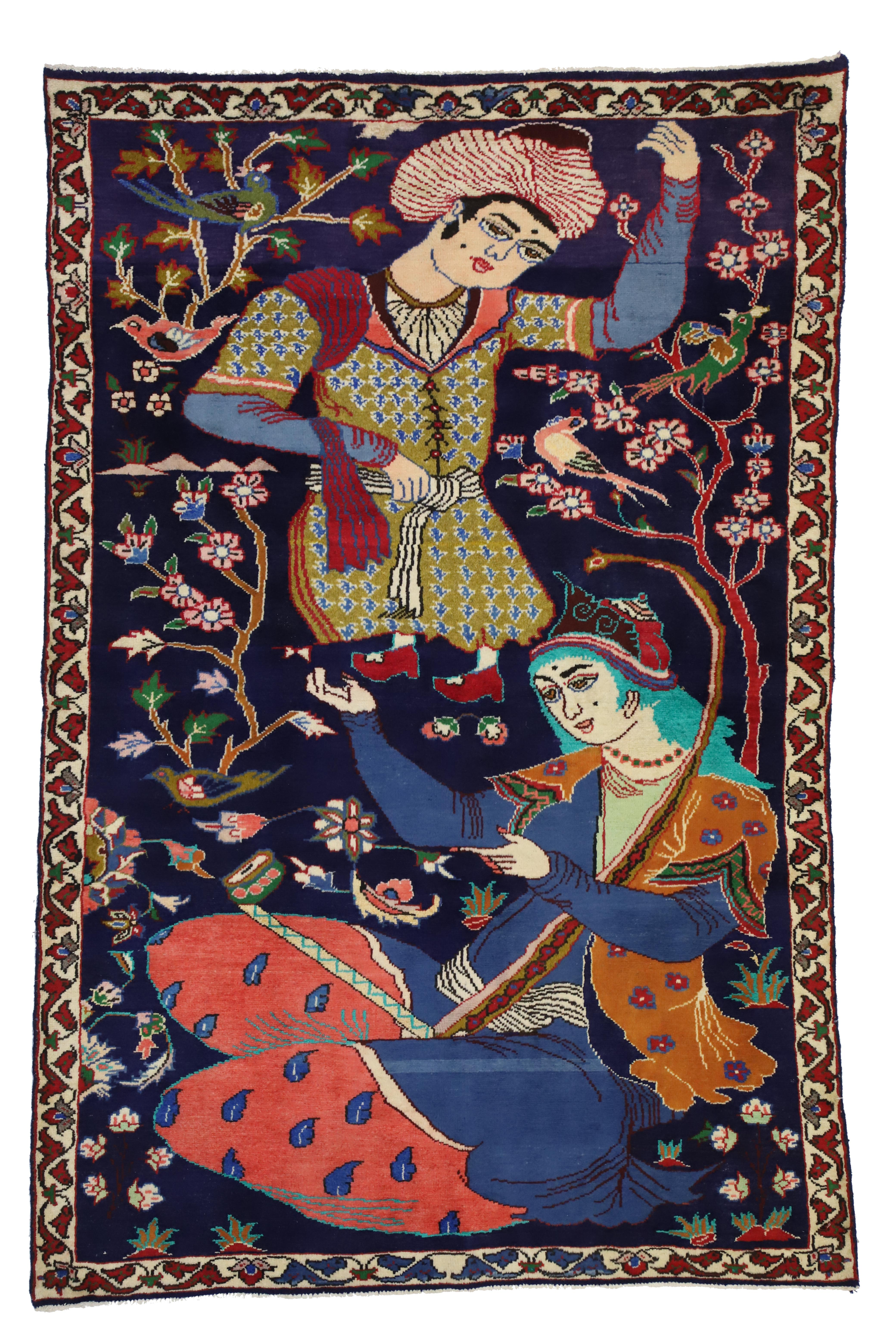 Vintage Hamadan Persian Rug With Dervish Pictorial Figurative Tapestry Wall Art