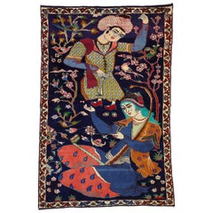 Vintage Hamadan Persian Rug with Dervish Pictorial, Figurative Tapestry Wall Art