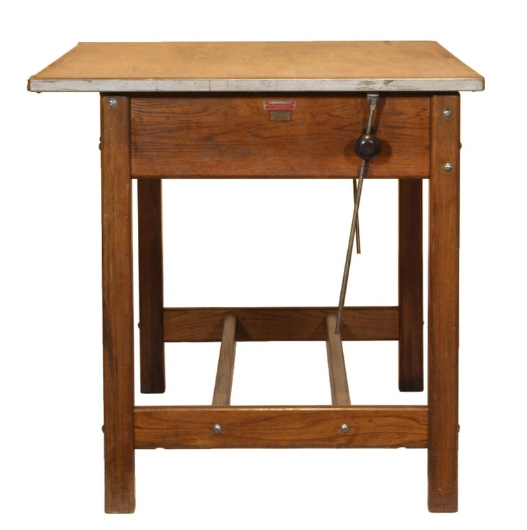 Vintage Hamilton Draftsman's Desk/Table In Distressed Condition For Sale In Oakville, CT