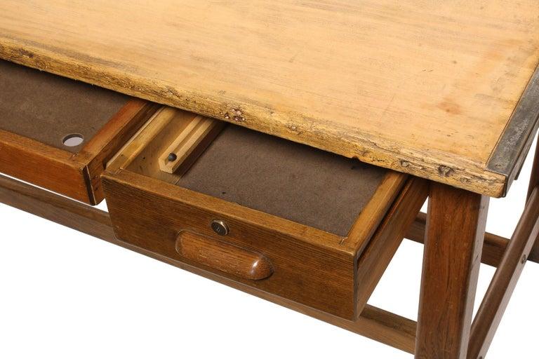Oak Vintage Hamilton Draftsman's Desk/Table For Sale