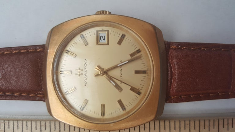 Hamilton Watch 1960s 14 Karat Gold Filled Self Winding Swiss Leather Band In Good Condition In Rancho Santa Fe, CA