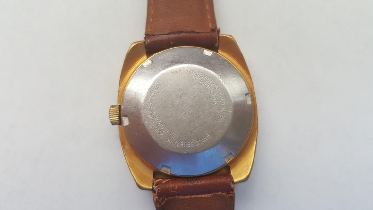Women's or Men's Hamilton Watch 1960s 14 Karat Gold Filled Self Winding Swiss Leather Band