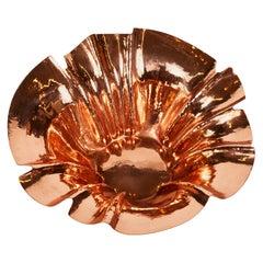Vintage Hammered and Formed Copper Sculptural Bowl, Newly Polished