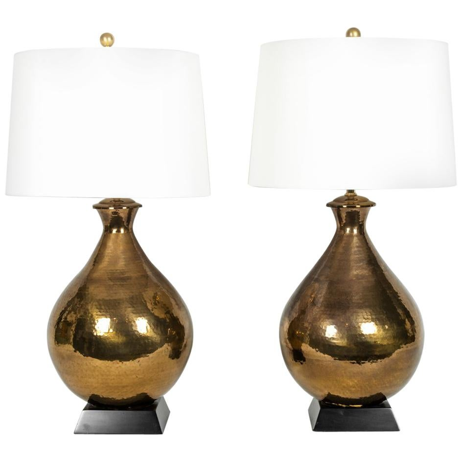 Vintage Hammered Brass Pair of Table Lamps