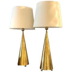 Vintage Hammered Brass Table Lamps, Set