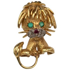Vintage Hammerman Bro's Lion Cub 18 Karat Gold Brooch w Diamond, Emerald, Ruby